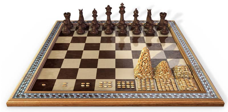 Tablero de ajedrez con piezas y granos de trigo