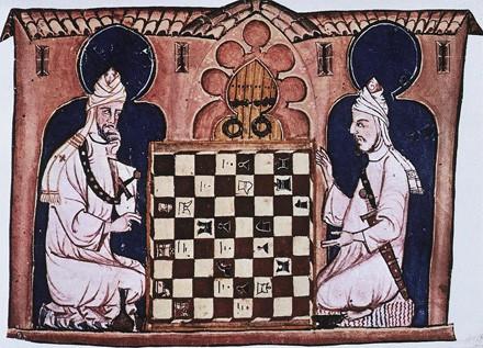 Imagen de jugadores echando una partida al Shatranj