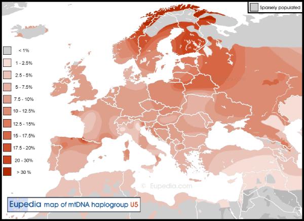 mapa europa haplogrupo U5