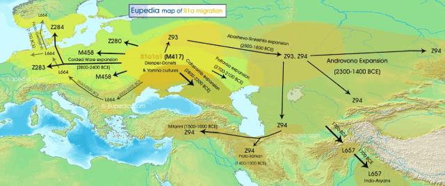 mapa migracion genetica haplogrupo r1a