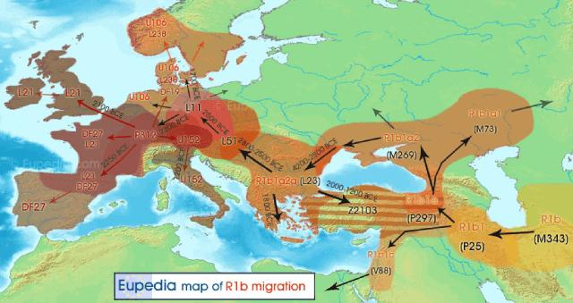 Mapa migración genetica haplogrupo R1b