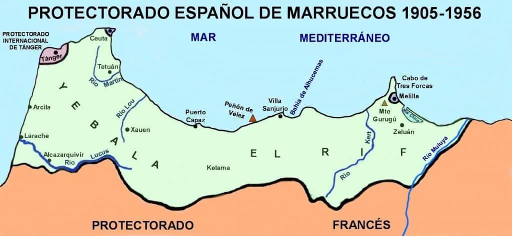 MAPA DEL PROTECTORADO DE MARRUECOS