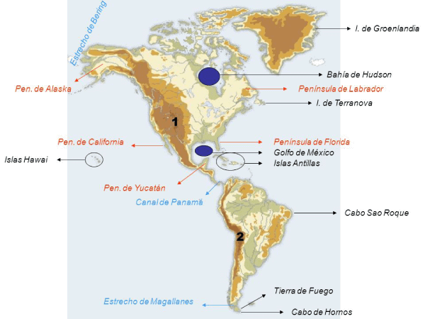 Mapa físico América