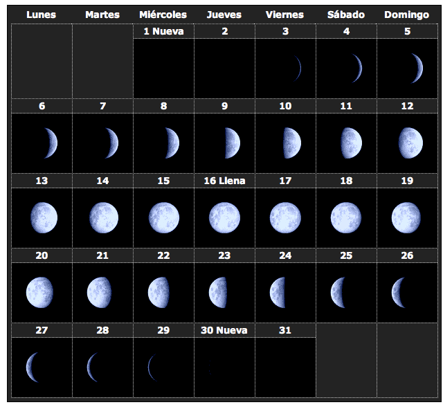 Calendario lunar enero 2014