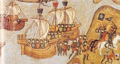 caballeros desembarcando durante las cruzadas