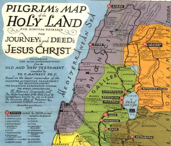 mapa peregrinaje tierra santa