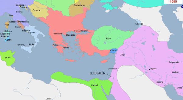 mapa con la situación política de Tierra Santa y alrededores en 1095