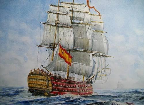 barco con bandera de España