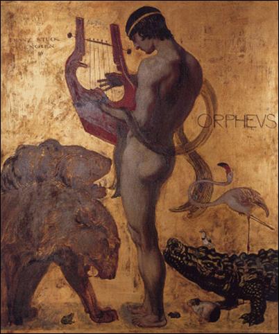 Orfeo amansando a Cerbero tocando el arpa