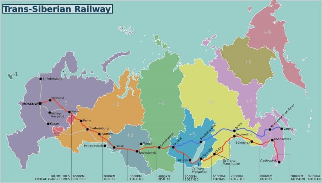 Mapa de la línea férrea conocia como Transsiberiano