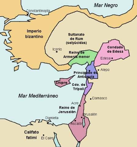 Mapa oriente próximo cruzadas 1140