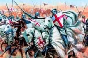 caballeros templarios cargando en una batalla en las cruzadas