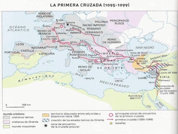 Mapa movimientos primera cruzada