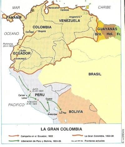 Mapa guerras Gran Colombia