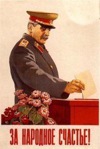 Cartel propagandístico Stalin votando