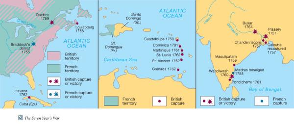 mapa guerra 7 años pérdidas francesas