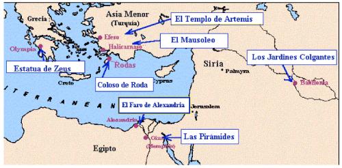 mapa 7 maravillas de la antigüedad