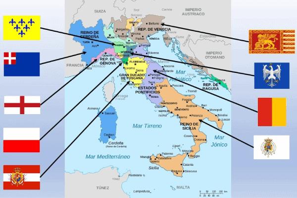 Mapa banderas de Italia 1796