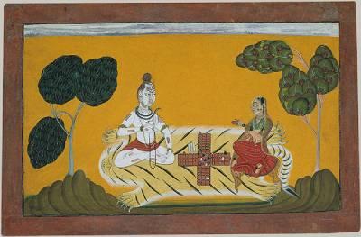 Shiva y Parvati jugando al Chaupar