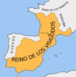 Imagen con la máxima extensión del reino visigodo de tolosa
