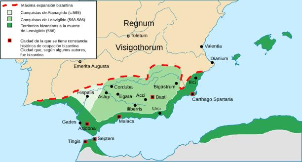 Imagen con la expansión bizantina en España durante el dominio visigodo