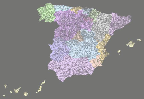 Mapa distribucion municipios de España