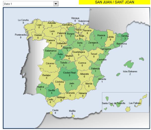 Mapa municipios San Juan en España