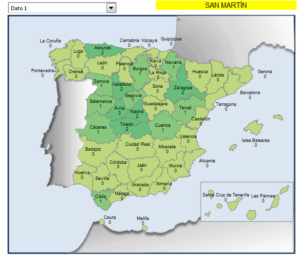Mapa municipios San Martín en España