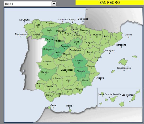 Mapa municipios San Pedro en España