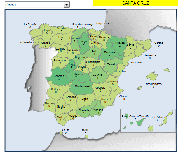 Mapa municipios Santa Cruz en España