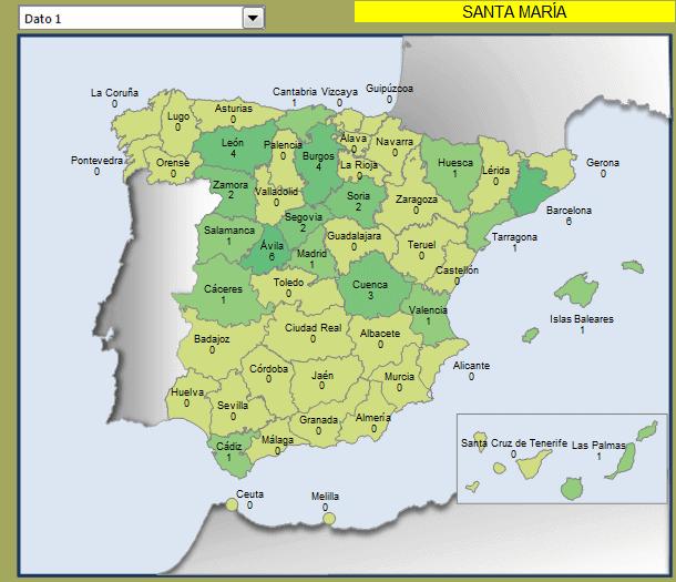 Mapa municipios Santa María en España