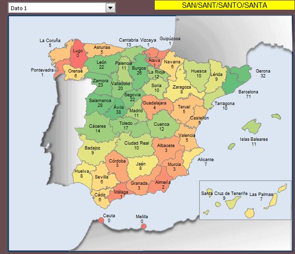 mapa municipios con santo y santa en el nombre