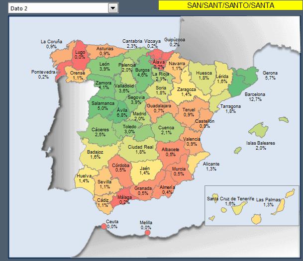 mapa España con porcentaje municipios santos