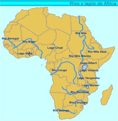 mapa rios y lagos Africa