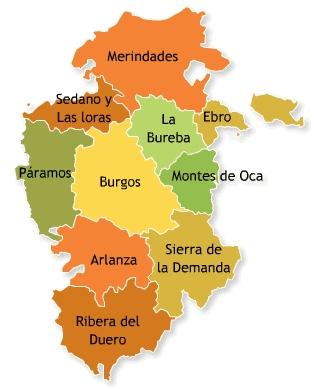 Mapa comarcas burgos