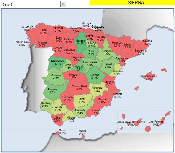 mapa España con porcentaje municipios sierra