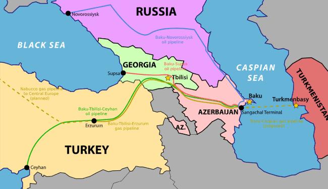 Mapa oleoductos gasoductos caucaso