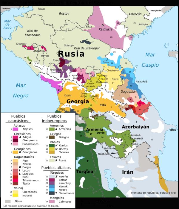 mapa étnico Cáucaso