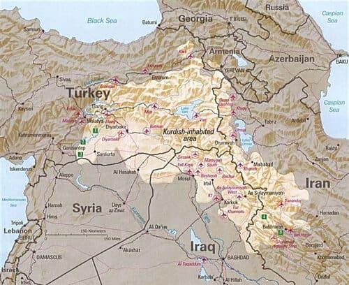 Mapa kurdistan 1991