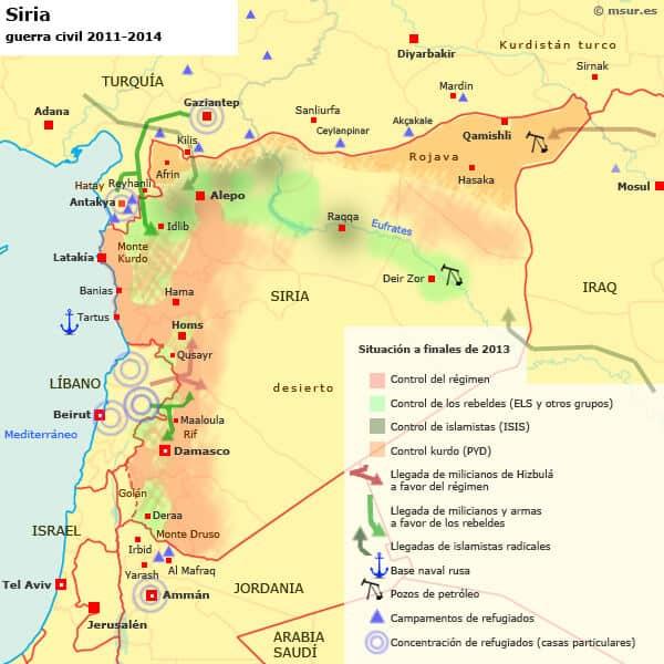 mapa guerra civil siria kurdos