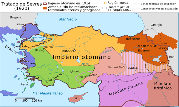 Mapa tratado Sevres Turquia 1920