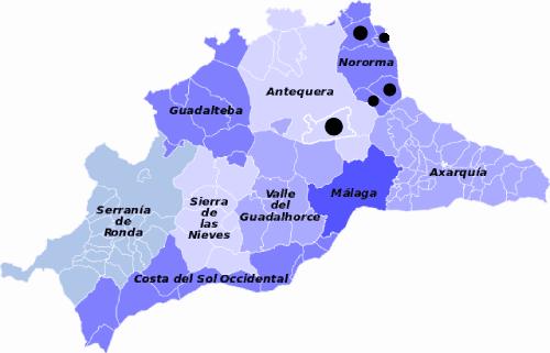 mapa comarcas malaga con los municipios villanueva señalados