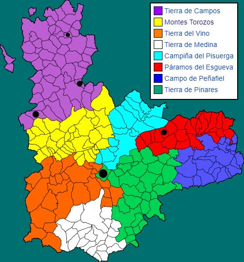 mapa comarcas valladolid con los municipios villanueva señalados
