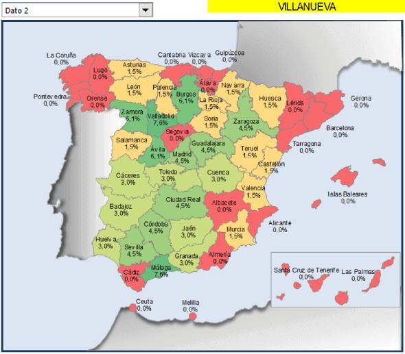 mapa provincias España coloreadas con porcentaje de los municipios que tienen Villanueva en el nombre.