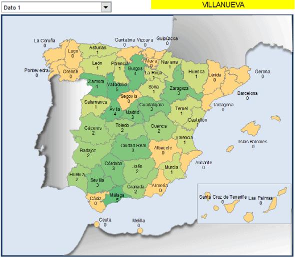 Mapa provincias España con numero municipios villanueva