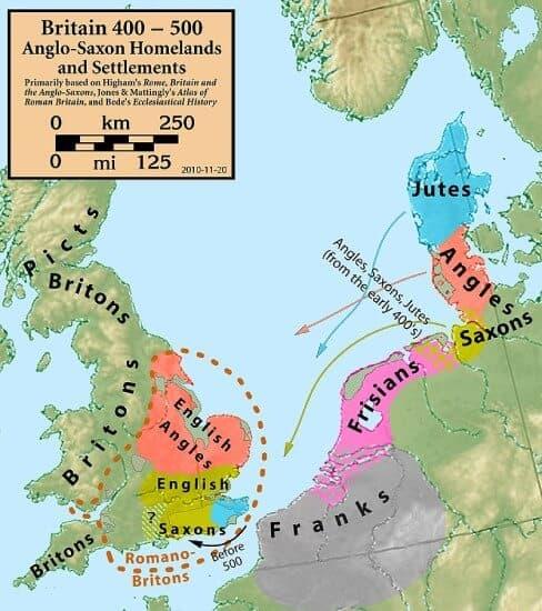 mapa origen pueblos anglosajones y la invasión de Gran Bretaña