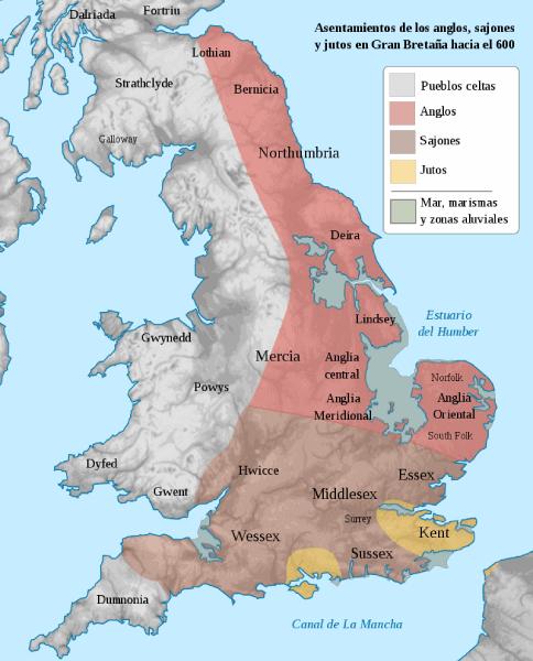 mapa pueblos anglosajones inglaterra