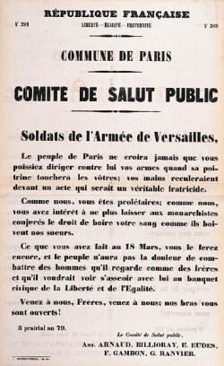 cartel de llamamiento del comite de orden publico comuna de paris