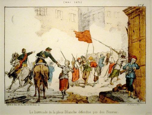 Barricada de la Plaza Blanche, defendida por mujeres, durante la Semana Sangrienta