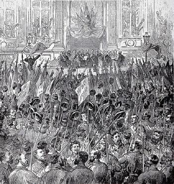 Parisinos celebrando la constitución del gobierno de la comuna de París